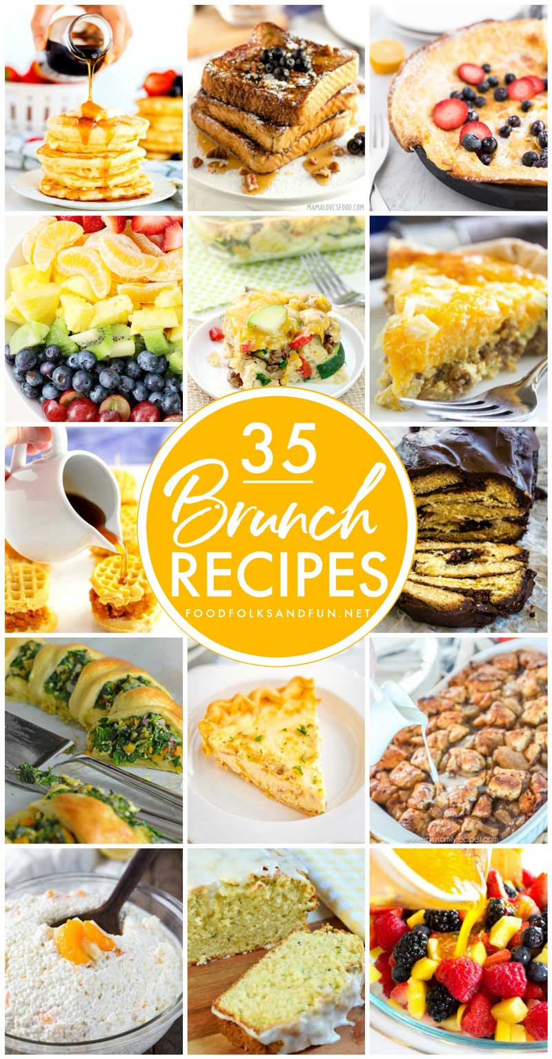These 35 Brunch Recipes have you covered for year-round brunching! You'll find main dishes, casseroles, egg dishes, side dishes, sweets, sweetbreads, appetizers, salads, fluff salads, and drinks! via @foodfolksandfun