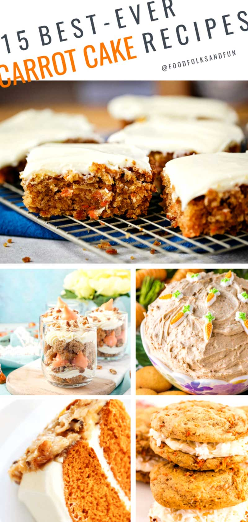 Differnt ways to make carrot cake.