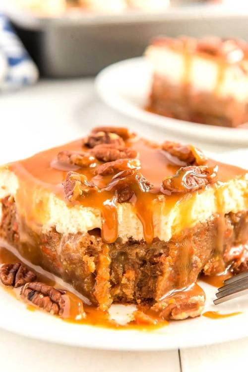 Carrot cake with caramel and cream cheese frosting.