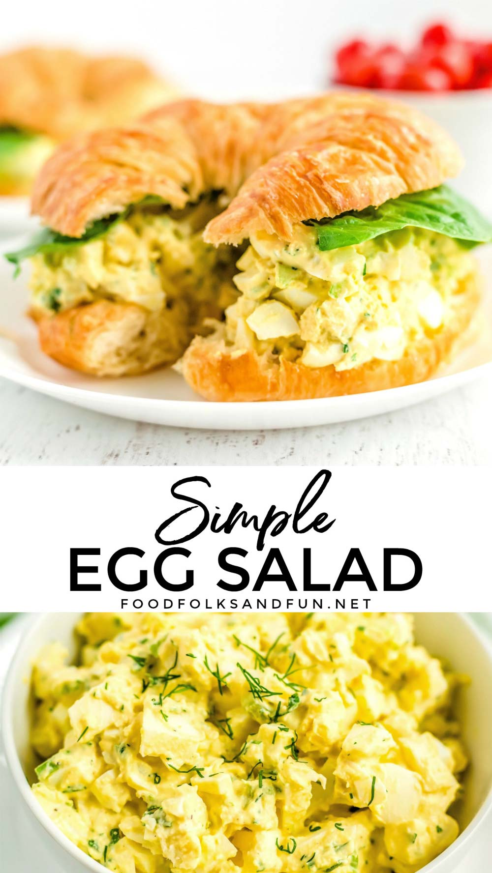 This creamy Egg Salad recipe has chunks of egg whites and just the right balance of crunchy celery and bright herbs like chives and dill.