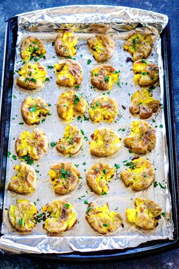 Roasted smashed potatoes recipe