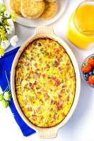 Overhead picture of ham and cheese brunch bake.