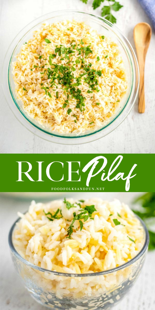 Picture collage of rice pilaf with orzo.