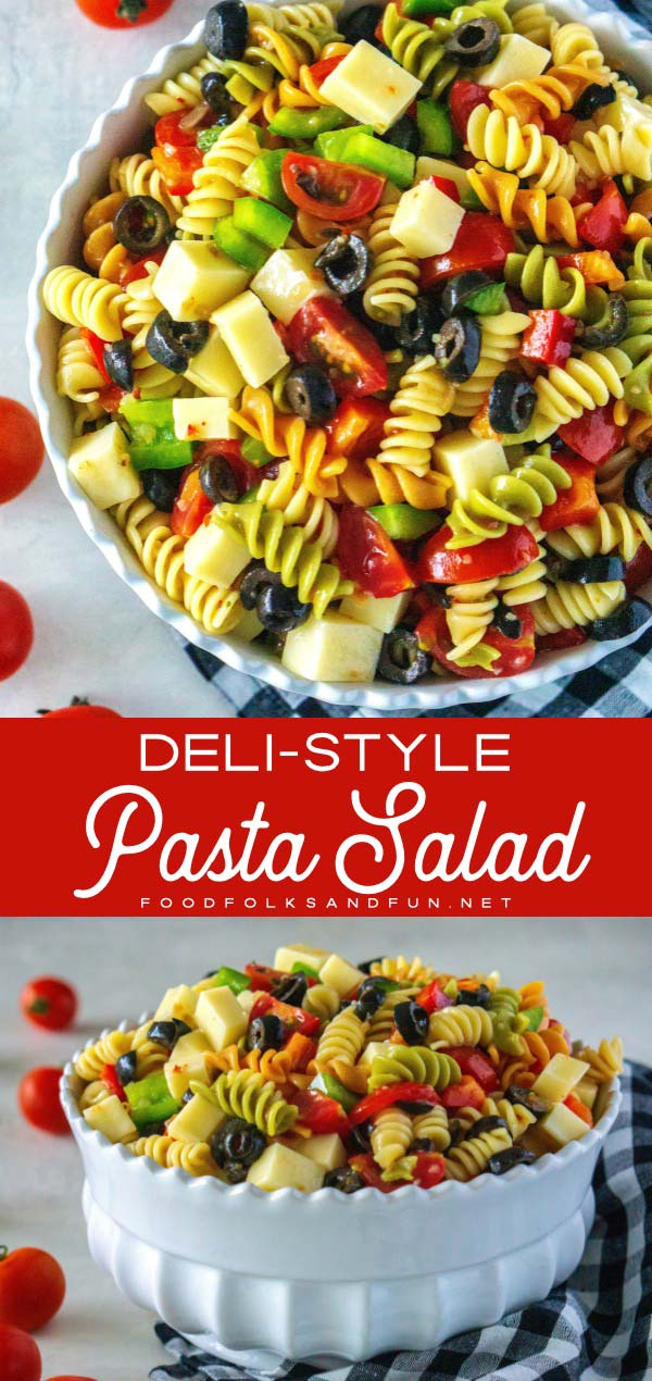 Picture collage of easy pasta salad