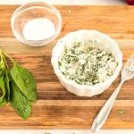 Mix together the goat cheese and basil.
