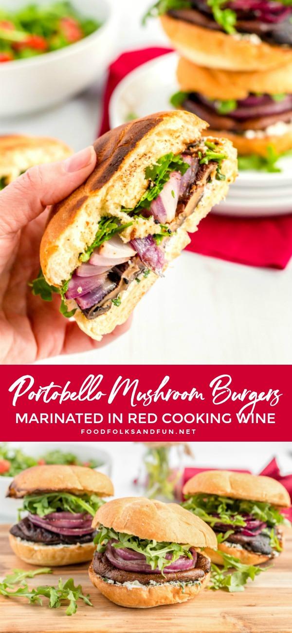 Picture collage of portobello mushroom burgers for Pinterest.