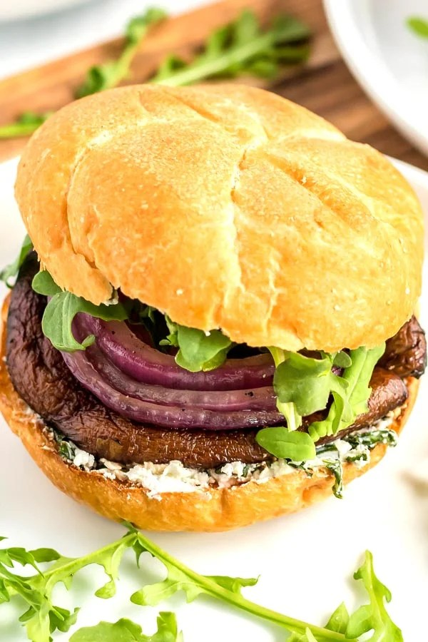 Grilled Portobello Mushrooms on a kaiser roll with a goat cheese and basil mixture.