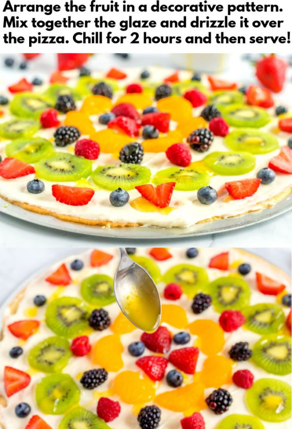 The citrus glaze being drizzled over the fruit pizza.