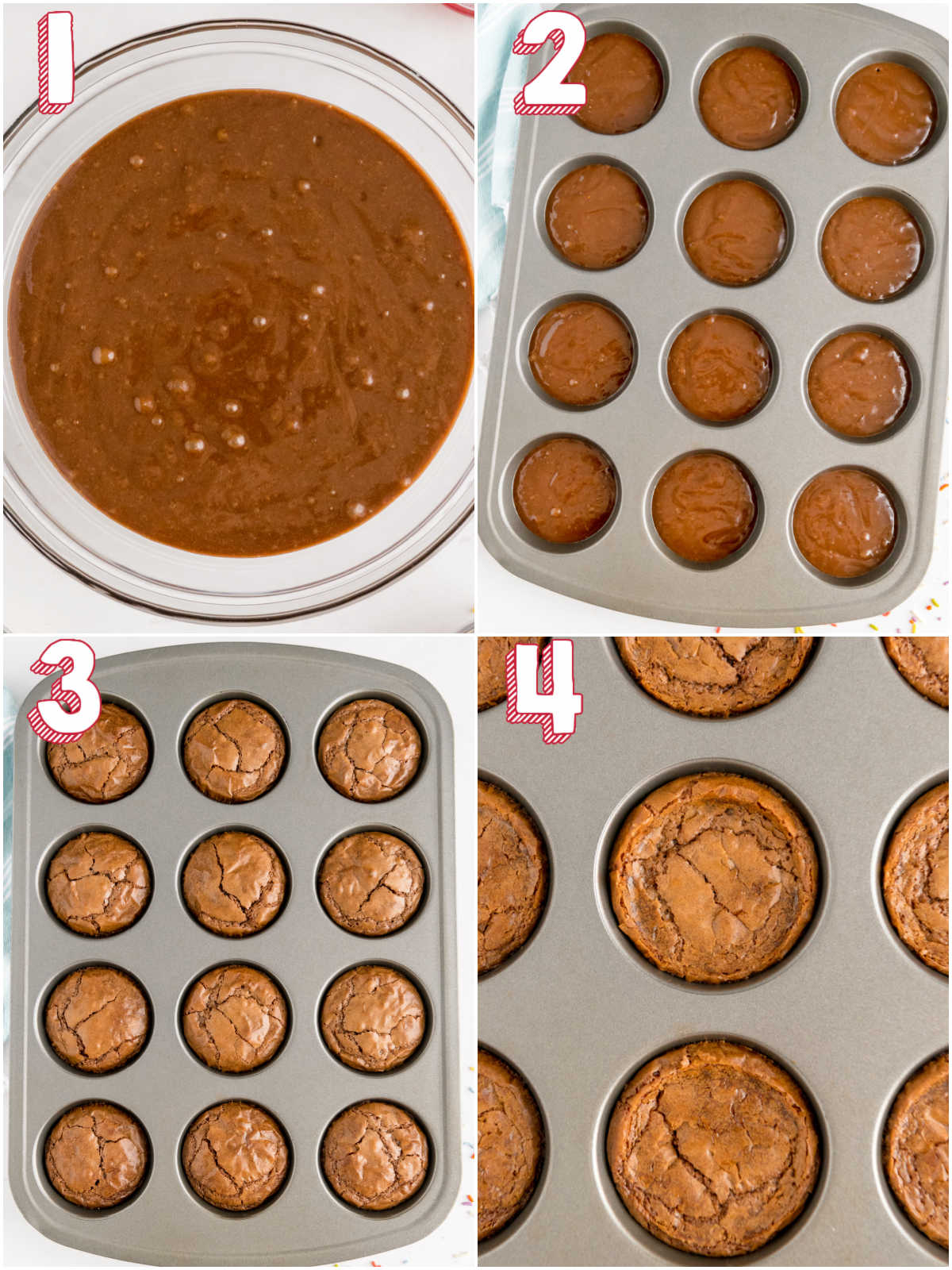 A picture collate of how to turn brownie mix into cupcakes with text overlay for Pinterest.