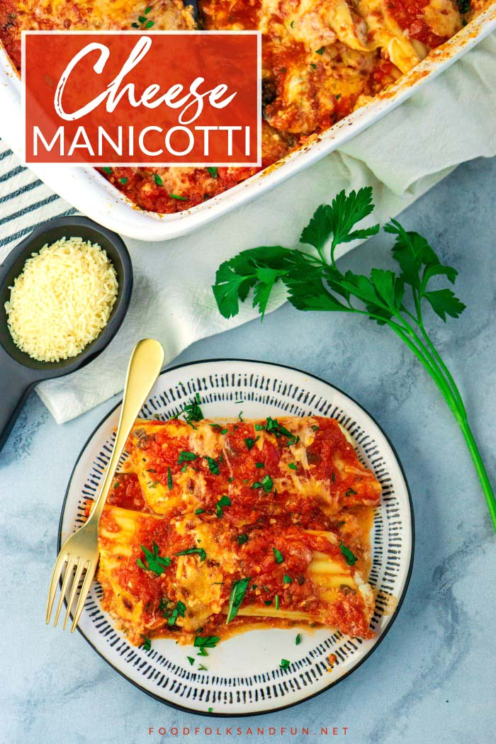 Cheese Manicotti on a plate with text overlay for Pinterest