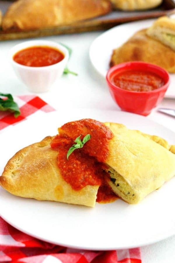 Homemade Cheese Calzone on a plate