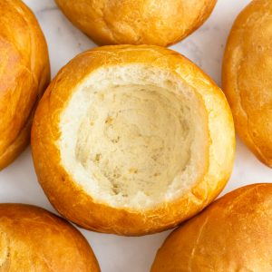An overhead picture of the the finished bread bowls.