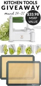 Picture collage of the kitchen tools I'm giving away with text overlay for social media.
