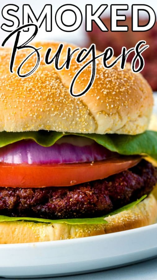 Finished smoked burger with text overlay for Pinterest.
