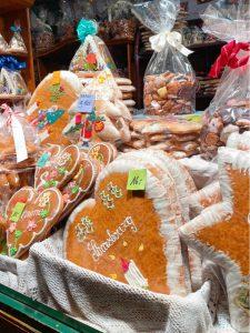Baskets of gingerbread in Strasbourg France.