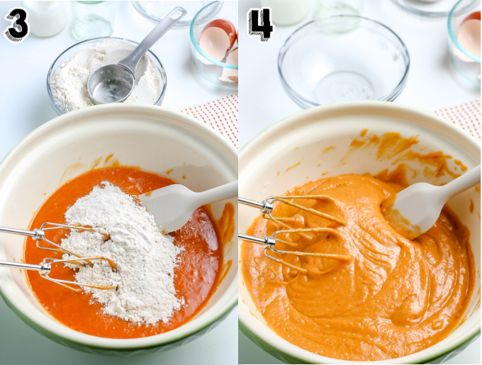 The pumpkin donuts batter after the flour is mixed in.