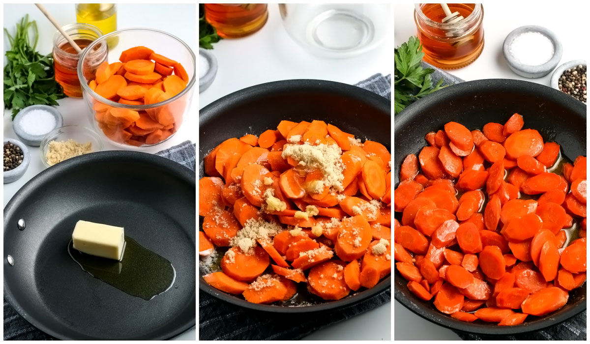 A picture collage of the carrots being cooking in a pan on the stovetop.