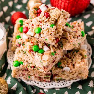 Christmas Rice Krispie Treats on a white platter.