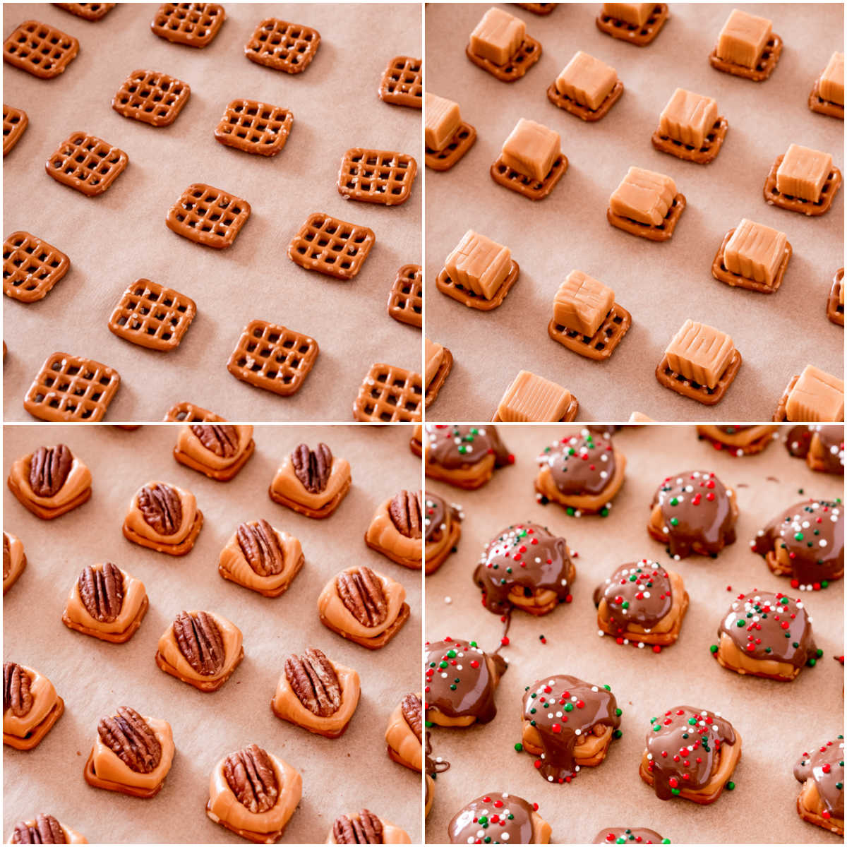A picture collage of how to make caramel pretzel turtles recipe.