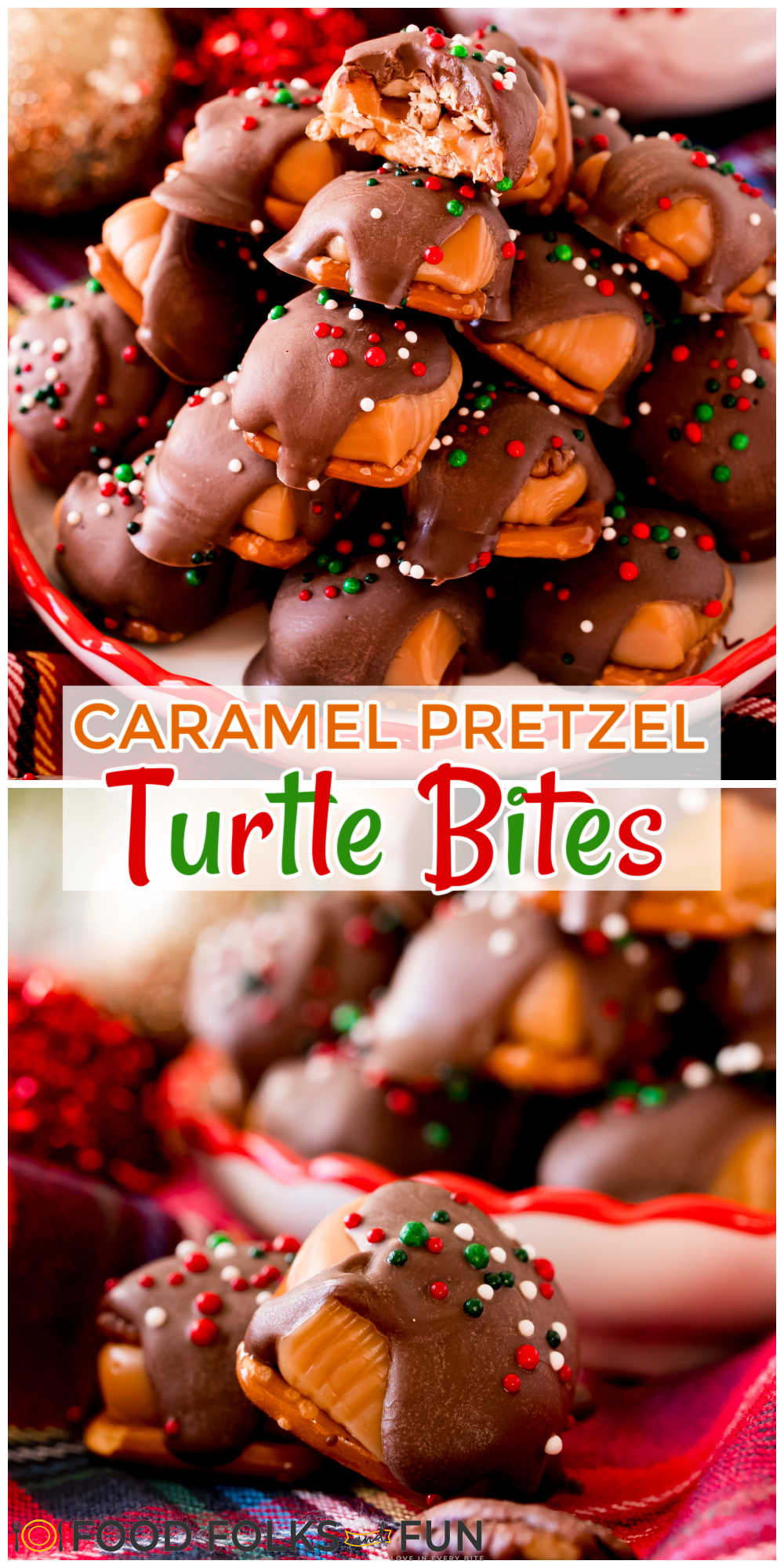 A fun twist on turtle candies, these easy Caramel Pretzel Turtles are made with pretzels, chewy caramels, pecans, and chocolate! Top them with sprinkles to make them extra festive! via @foodfolksandfun