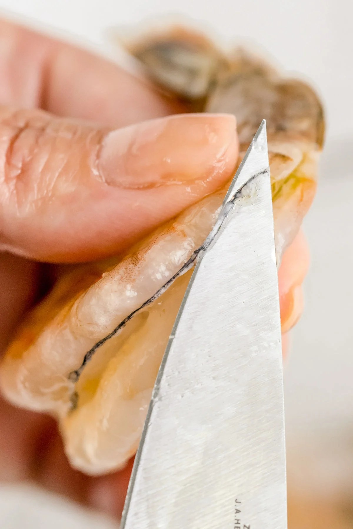 A knife taking out the vein of a shrimp.