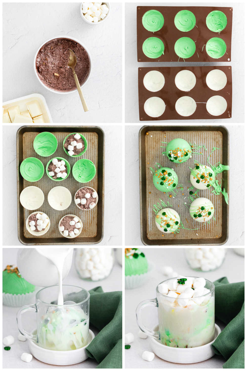A picture collage of how to make St Patrick's Hot Chocolate Bombs.