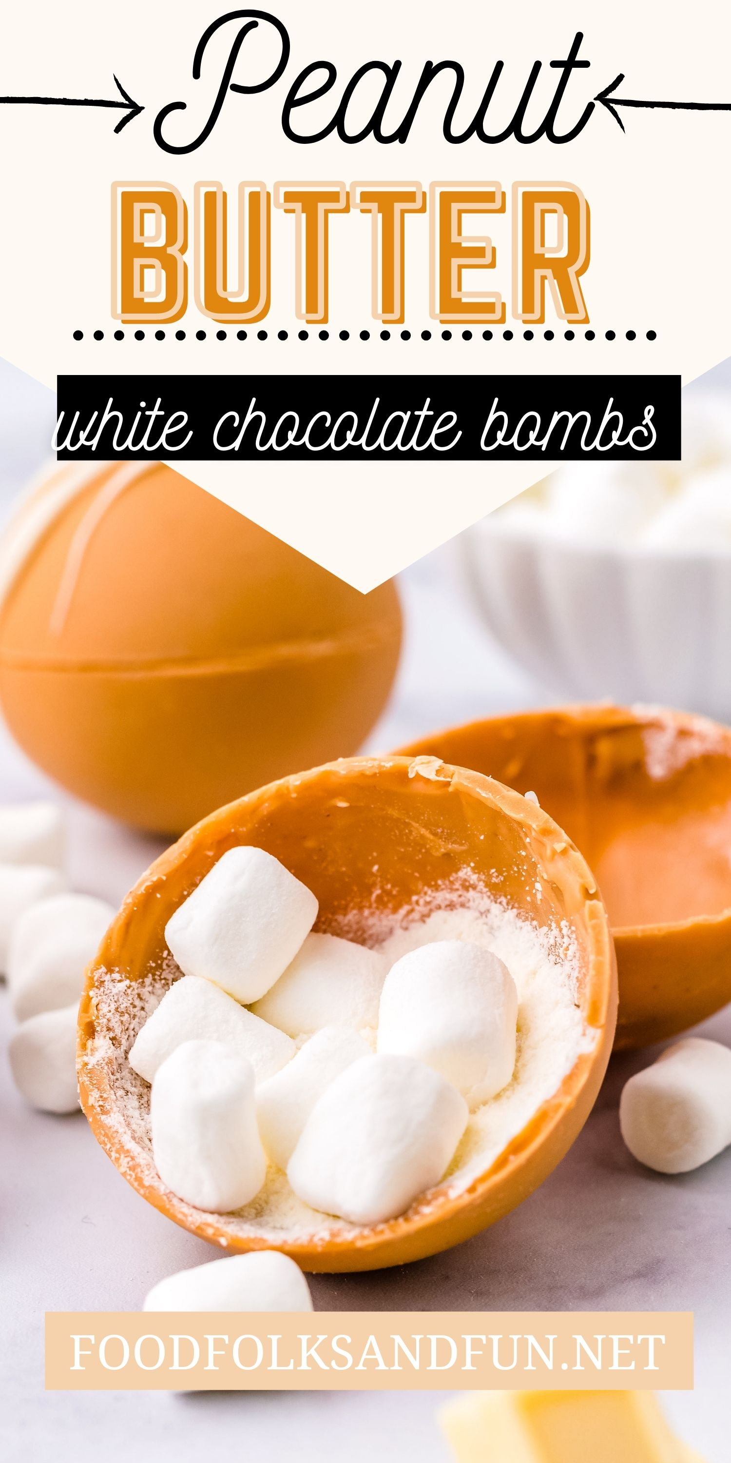 These Peanut Butter White Hot Chocolate Bombs are the perfect combination of peanut butter and white chocolate. They're so cozy to drink and even more fun to gift! via @foodfolksandfun