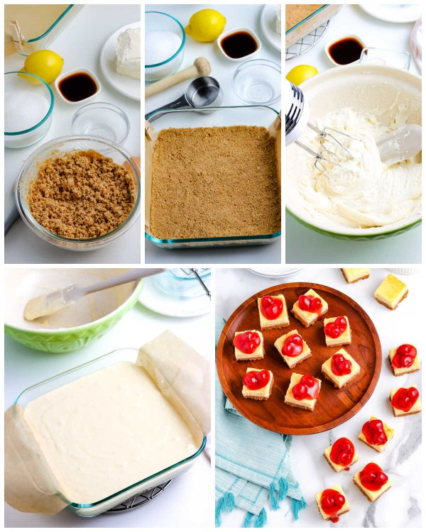 A picture collage of how to make this Cheesecake Bars recipe.