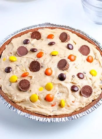 The finished Reese's Peanut Butter Pie string from the freezer.
