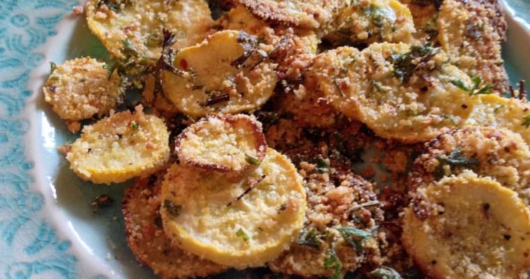 "Masa Coated ""Healthi""-fried Yellow Summer Squash & Garden-fresh Parsley"