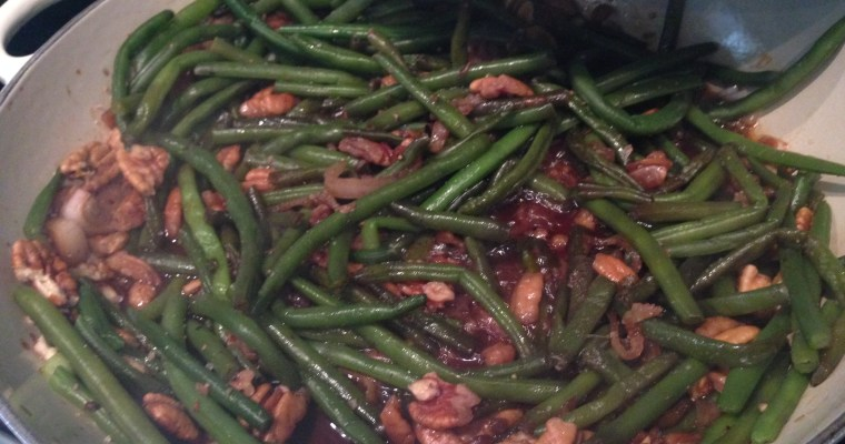 Brown Sugar & Soy Glazed Green Beans with Pecans