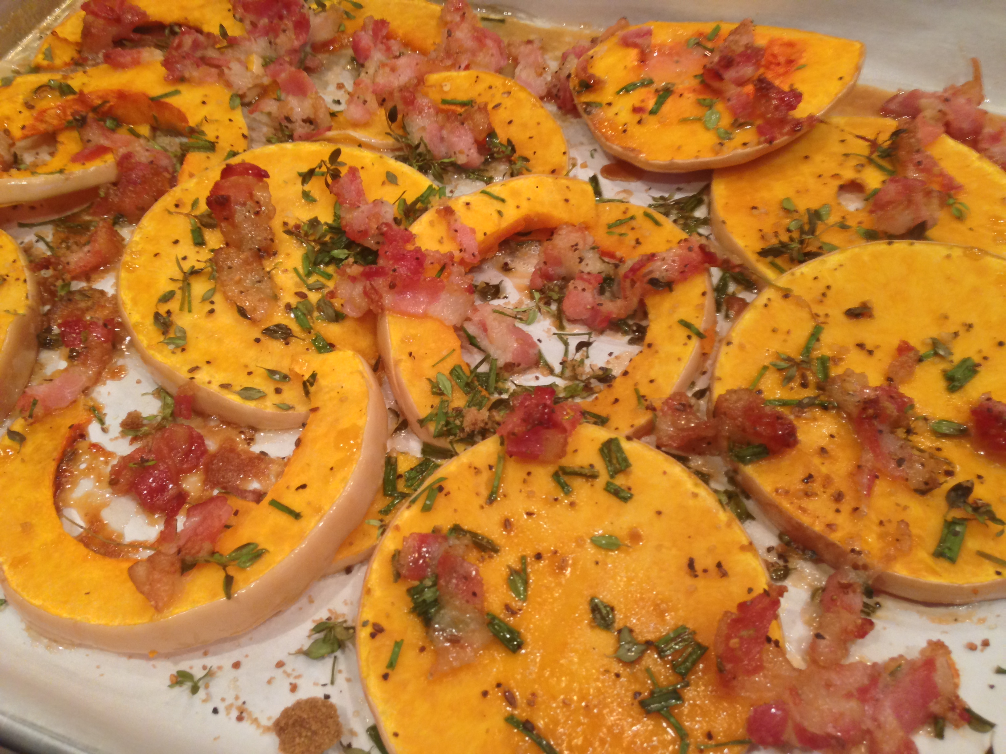 Oven Roasted ((Brown-Sugared)) Butternut Squash with Bacon and Fresh Herbs