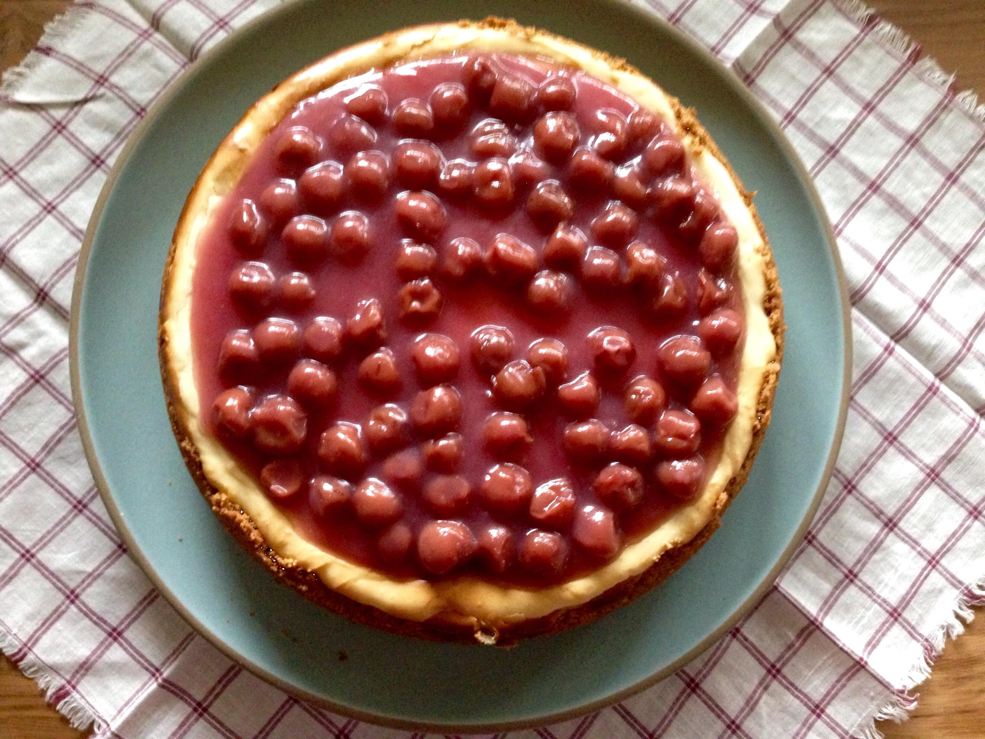 Sour Cherry Topped Homemade Vanilla Cheesecake