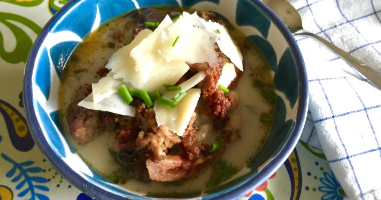 Chard and White Bean Italian Soup with Crispy Sausage