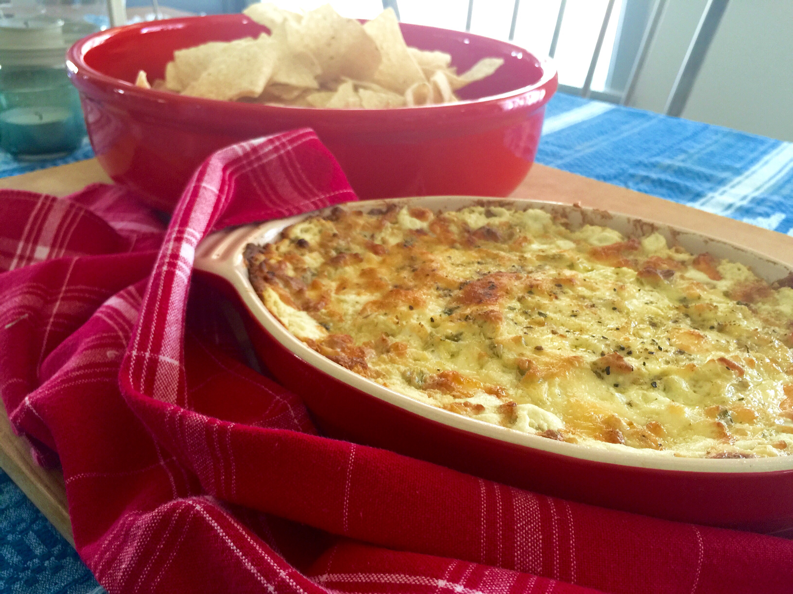 Cheesy Baked Green Chili & Onion Dip