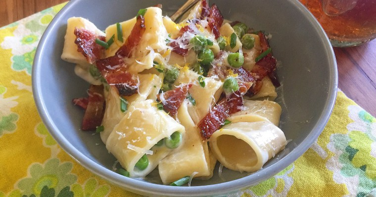 Mezze Paccheri with Spring Peas & Candied Bacon in a Simple Parmesan Cream Sauce