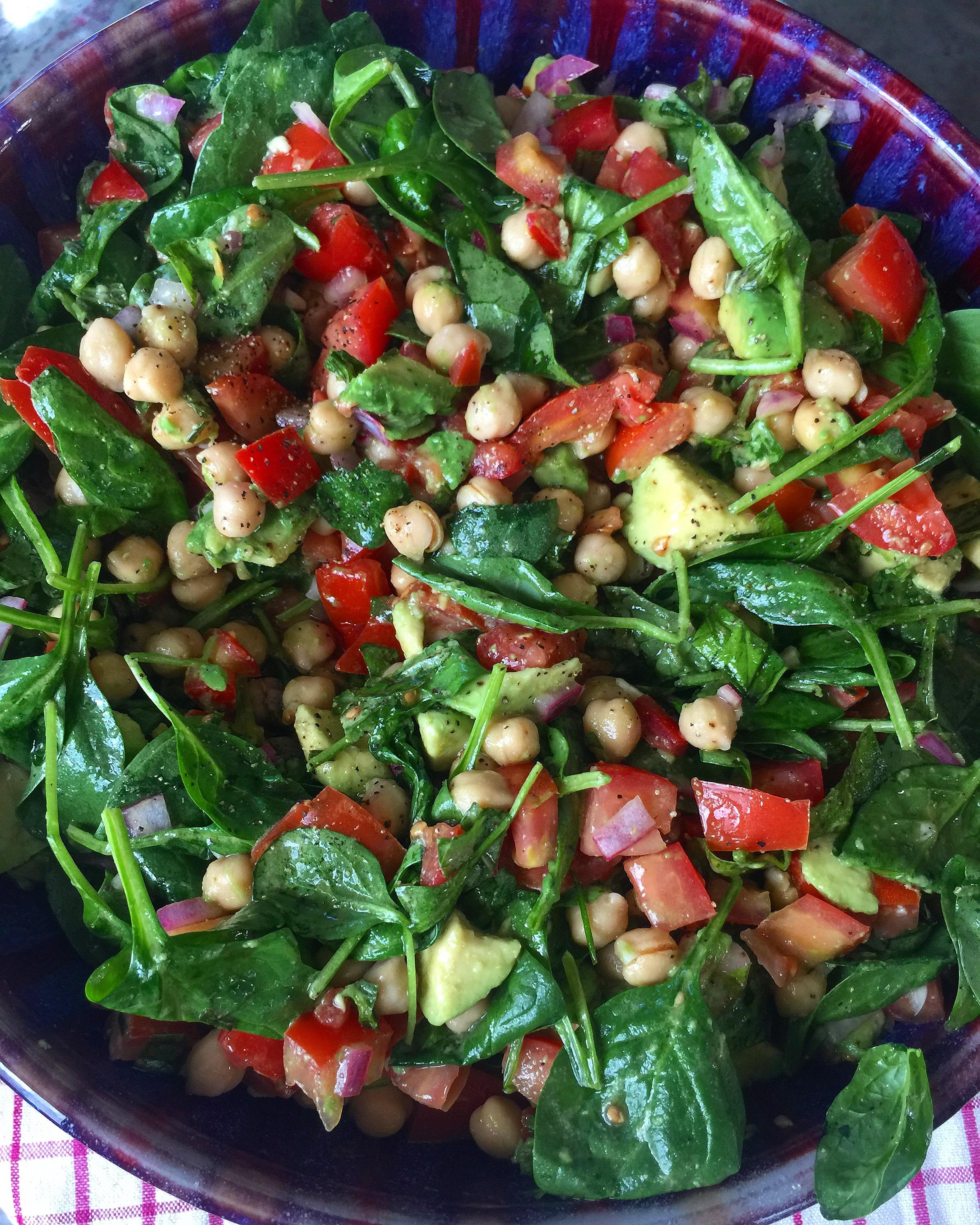 Tomato Avocado Spinach Salad w/ Lemon Basil Vinaigrette