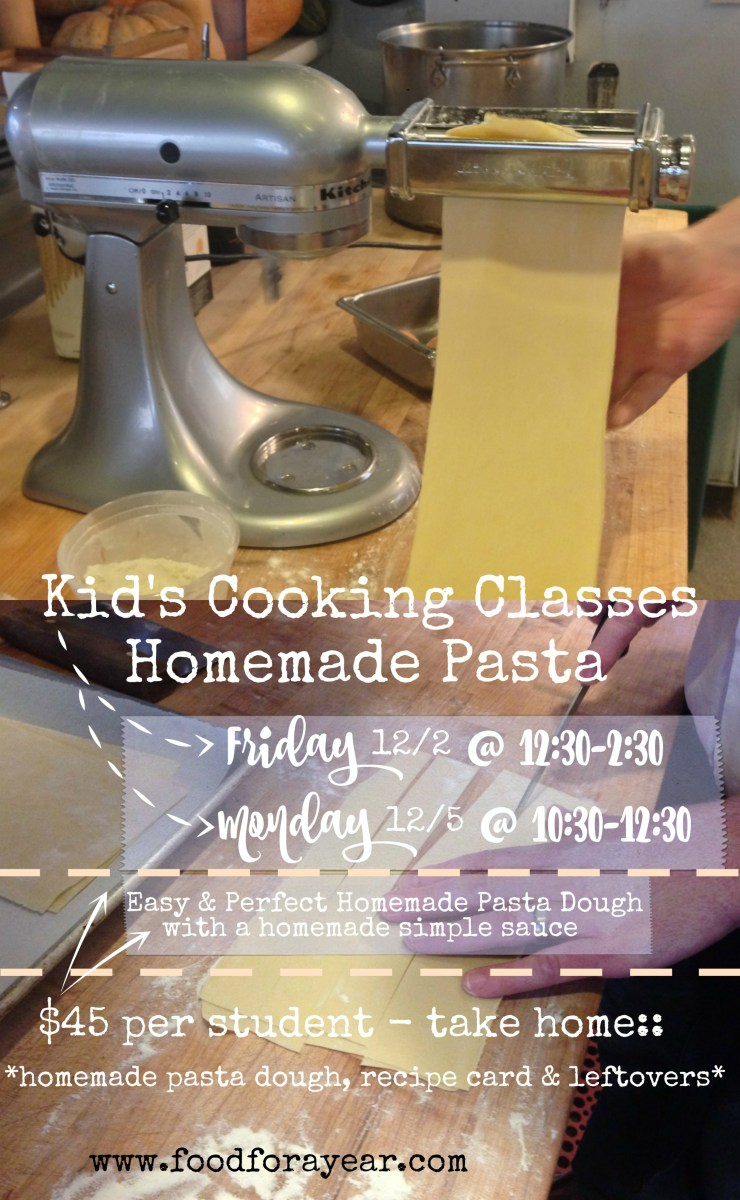December 2016 Cooking Classes