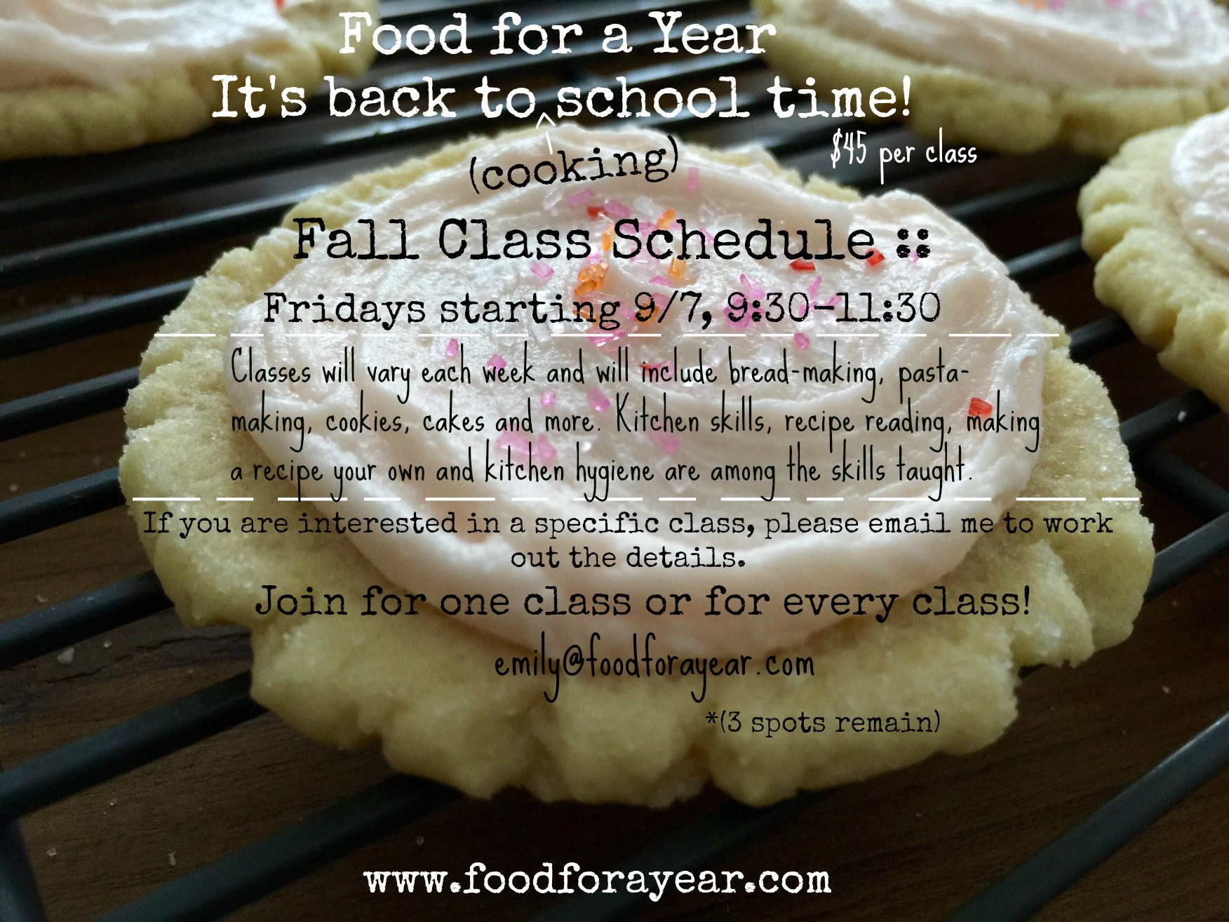 Fall 2018 Cooking Class Schedule