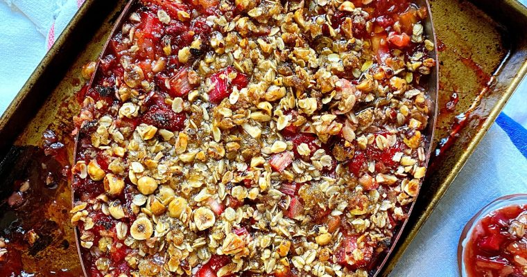 Strawberry Rhubarb Cobbler with Oat Hazelnut Crumble
