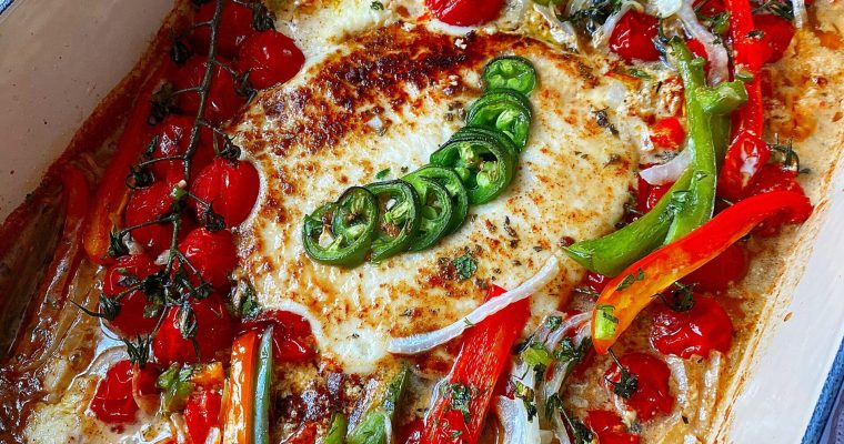 Spicy Baked Queso Fresco & Veggies