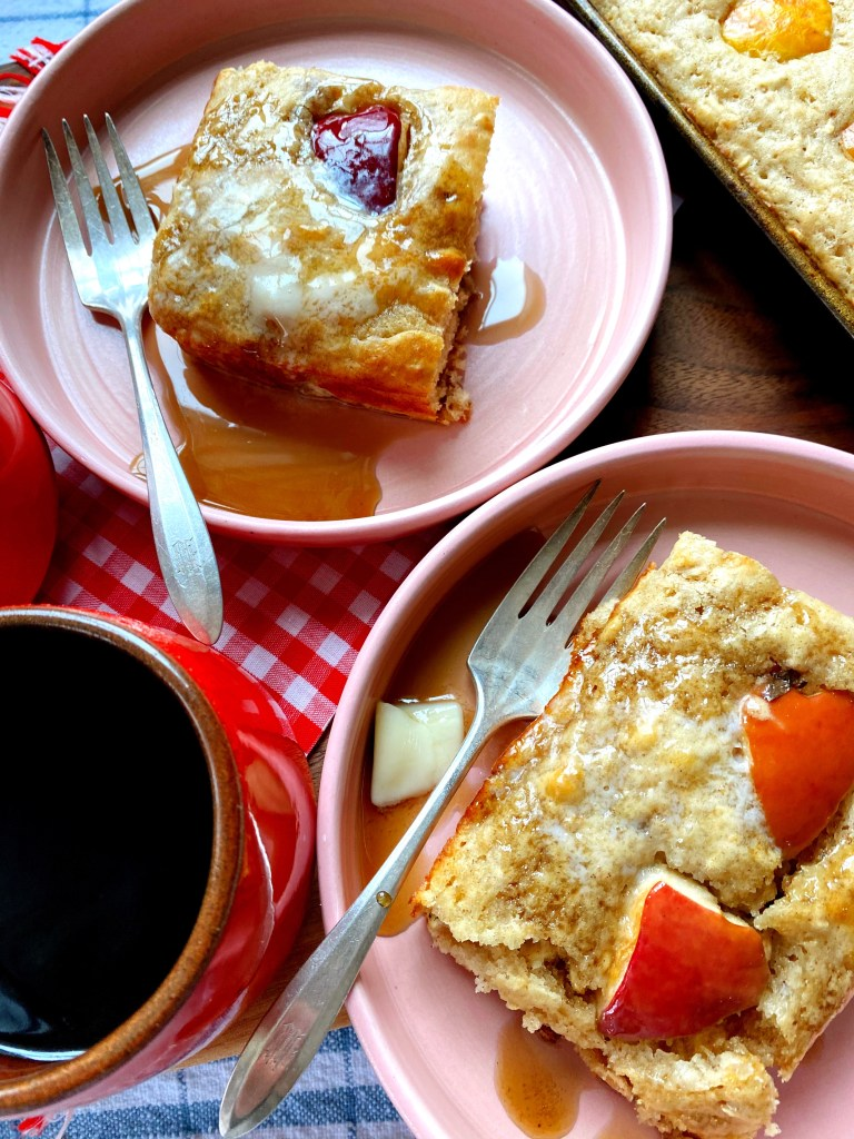 breakfast sheet pan pancake is served
