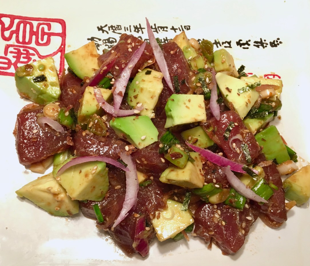 Plated tuna and avocado poke