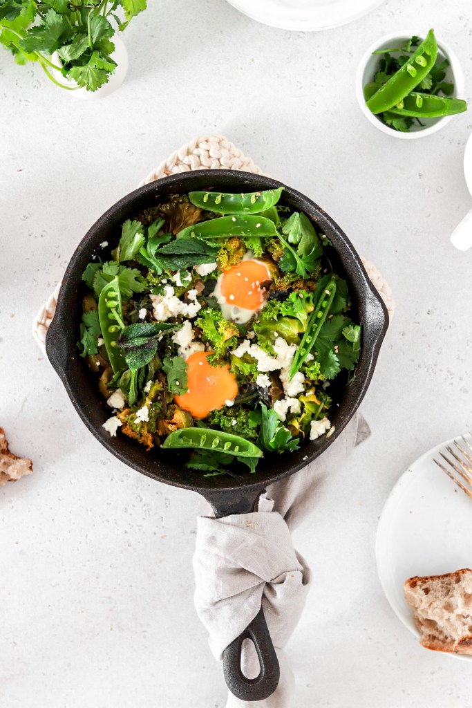 Green Shakshouka(Vegetarian, Gluten, Grain Free & Low Carb) From Above In A Pan
