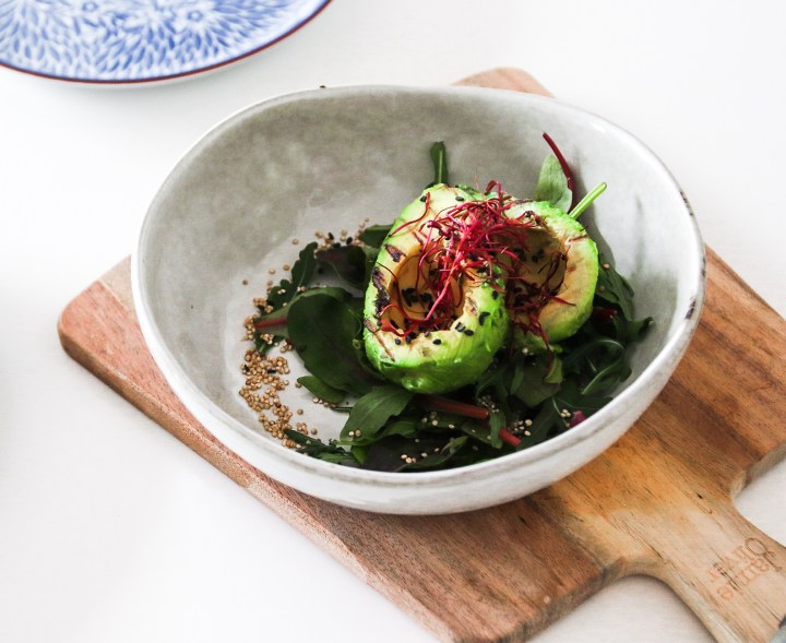 Grilled Avocado with Roasted Quinoa