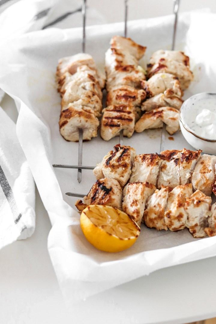 Yoghurt & Lemon marinated Chicken Skewers
