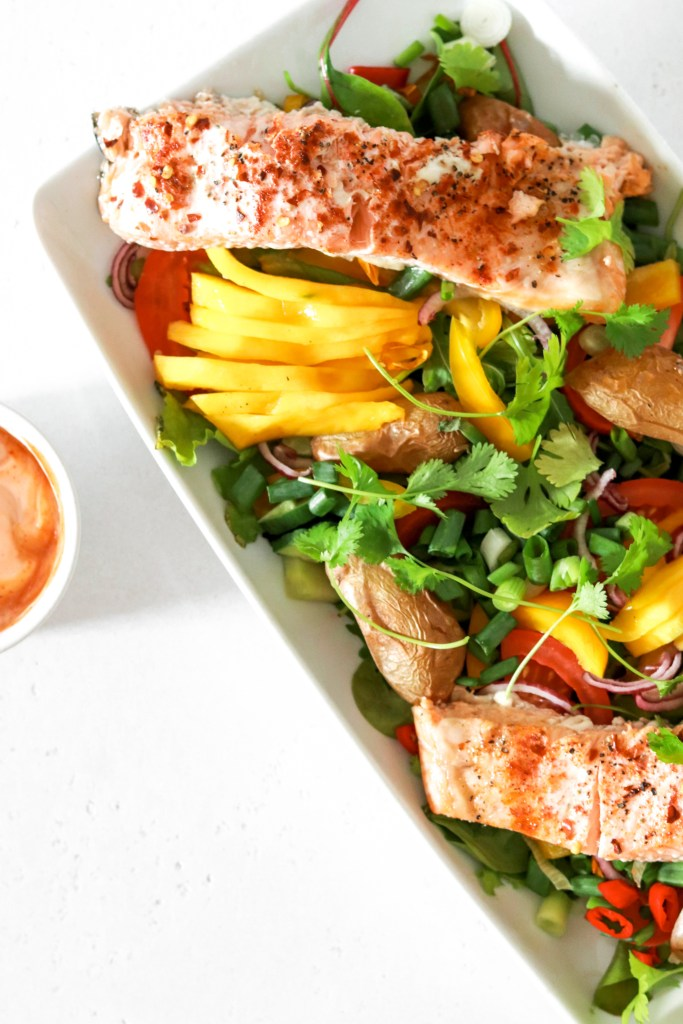 Asian Style Salmon Salad From Above