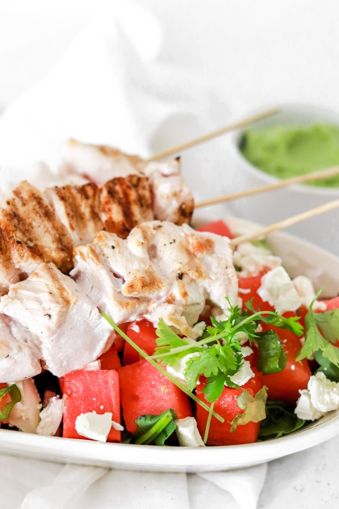 Chicken Skewers with Watermelon & Feta Cheese (Gluten, Grain Free & Low Carb) Close Up
