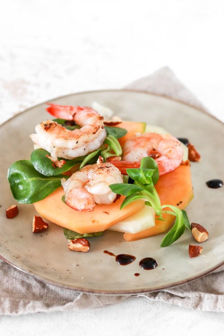 Melon & Scampi Salad (Gluten, Grain Free & Low Carb) Close Up