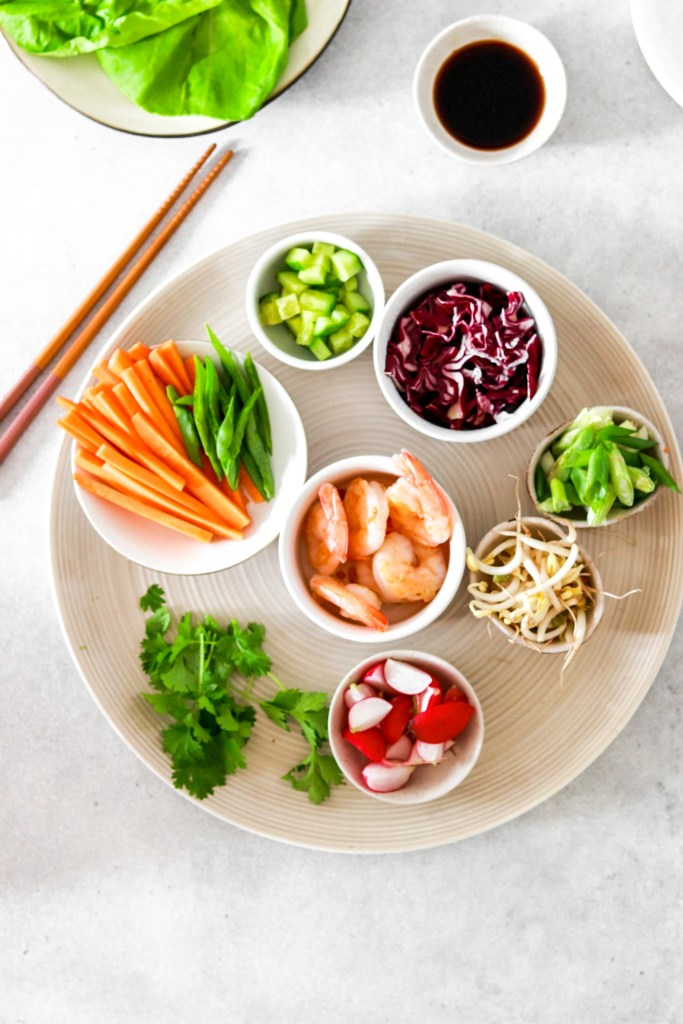 Asian Style Salad Cups with Prawns (Gluten, Grain Free & Low Carb) From Above